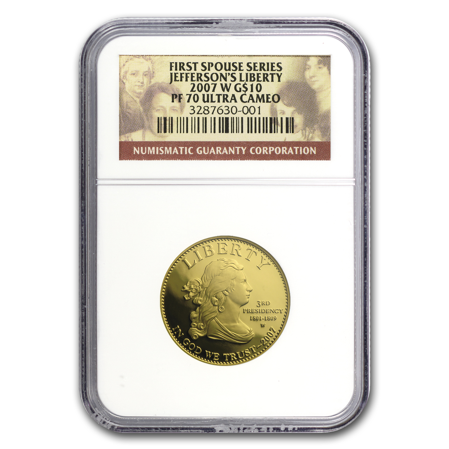 2007-W 1/2 oz Proof Gold Jefferson's Liberty PF-70 NGC UCAM